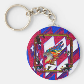 Good Hunting Eagle Arrows and Flowers Frame Basic Round Button Key Ring