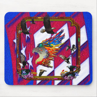 Good Hunting Eagle Arrows and Flowers Frame Mouse Pad