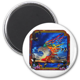 Good Hunting Eagle Sky background clear edge 6 Cm Round Magnet