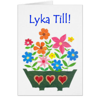Good Luck Card, Swedish Greeting - Flower Power Greeting Card