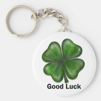 Good Luck Clover Basic Round Button Key Ring