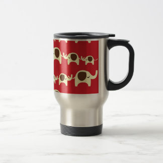 Good luck elephants cherry red cute animal pattern stainless steel travel mug