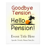 Goodbye Tension, Hello Pension Funny Retirement 11.5 Cm X 14 Cm Flyer