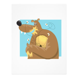 goofy bear eating honey 21.5 cm x 28 cm flyer