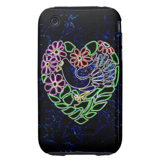 Gothic Bird in Heart Tough iPhone 3 Covers