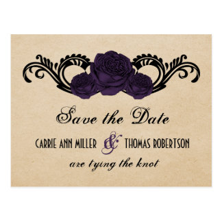 Gothic Swirl Roses Save the Date Postcard, Purple Postcard