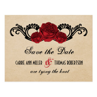 Gothic Swirl Roses Save the Date Postcard, Red Postcard