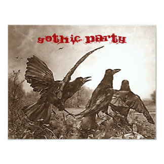Gothic Themed Party Invitation Eerie Omen Birds