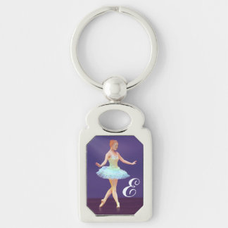 Graceful Ballerina with Red Hair, Monogram Silver-Colored Rectangle Key Ring
