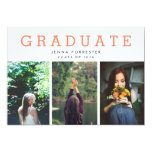 Graduate Cute Script Three Photos Coral 13 Cm X 18 Cm Invitation Card