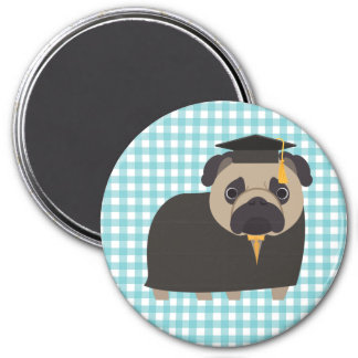 Graduate Pug on Blue and White Gingham Design 7.5 Cm Round Magnet