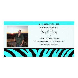 Graduation Aqua Zebra Photo Card