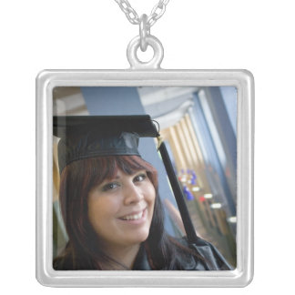 Graduation Girl in Cap and Gown Square Pendant Necklace