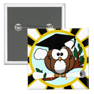 Graduation Owl w/ School Colors Black and Gold 15 Cm Square Badge