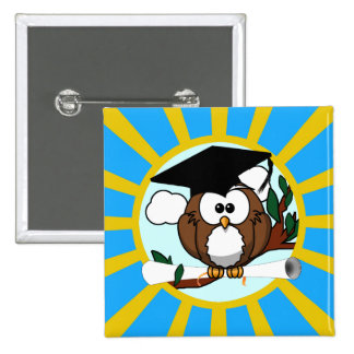 Graduation Owl With Lt.Blue And Gold School Colors 15 Cm Square Badge