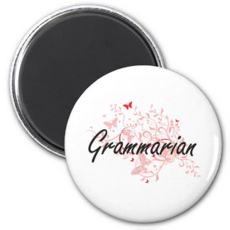 Grammarian Artistic Job Design with Butterflies 6 Cm Round Magnet