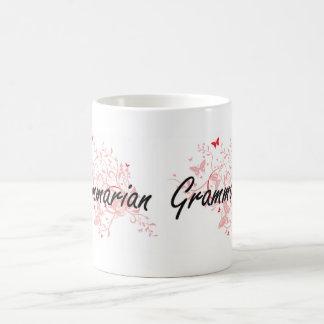 Grammarian Artistic Job Design with Butterflies Basic White Mug