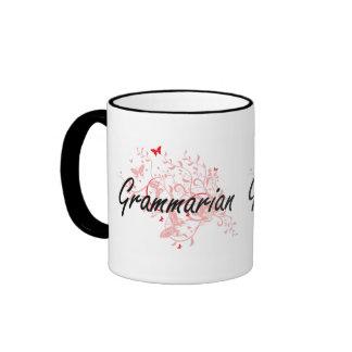 Grammarian Artistic Job Design with Butterflies Ringer Mug