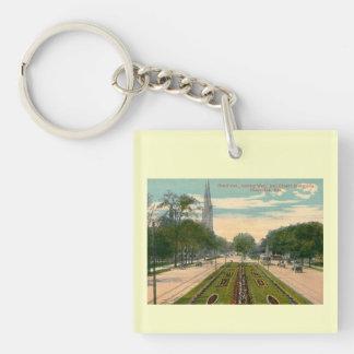 Grand Ave., Milwaukee, Wisconsin  Vintage Single-Sided Square Acrylic Key Ring