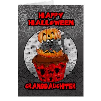granddaughter halloween cupcake cat, grey tabby greeting card