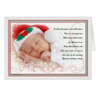 Granddaughter's 1st Christmas | Custom Name Greeting Card