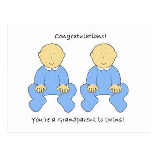 Grandparent to twin boys, Congratulations Postcard