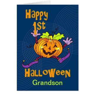 Grandson 1st Halloween Happy Pumpkin Greeting Card