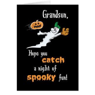 Grandson Halloween Baseball Ghost with Pumpkin Greeting Card