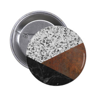 Granite, marble, rusted iron abstract 6 cm round badge