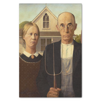 "Grant Wood American Gothic Fine Art Painting 10"" X 15"" Tissue Paper"