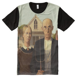Grant Wood American Gothic Fine Art Painting All-Over Print T-Shirt