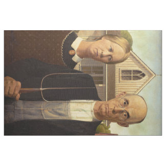 Grant Wood American Gothic Fine Art Painting Fabric