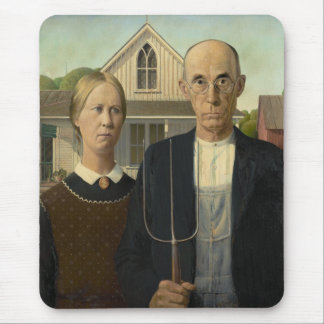 Grant Wood - American Gothic Mouse Pad