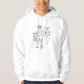 Graphic back view keyboard player sketch sweatshirts