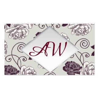 Graphic floral pattern. Foiled frame. Monogramm Pack Of Standard Business Cards