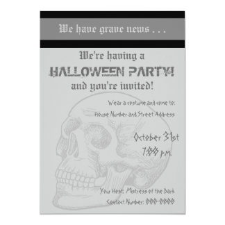 Grave News With Human Skull 13 Cm X 18 Cm Invitation Card