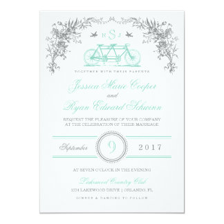 Gray and Aqua Vintage Bicycle Wedding Invitation