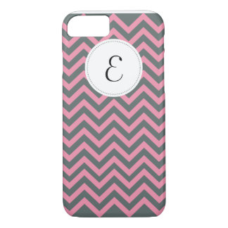 Gray and Pink Chevron Pattern Monogram iPhone 7 ca iPhone 7 Case