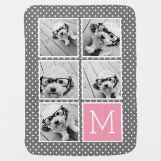 Gray and Pink Instagram 5 Photo Collage Monogram Buggy Blankets