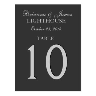 Gray and Silver Wedding Table Number Card Postcard