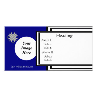 Gray / Grey Clover Ribbon Template Custom Photo Card