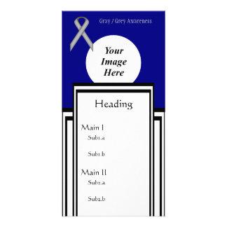 Gray / Grey Standard Ribbon Template Photo Cards