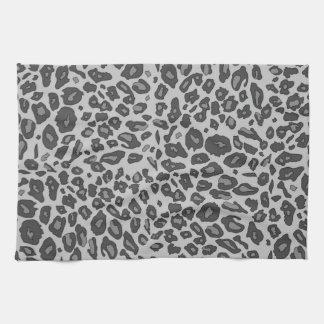 Gray leopard print tea towel