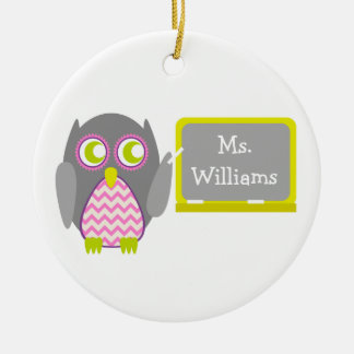 Gray Owl Pink Chevron Teacher At Chalkboard Round Ceramic Decoration