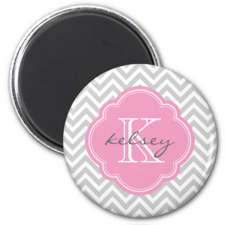 Gray & Pink Modern Chevron Custom Monogram 6 Cm Round Magnet