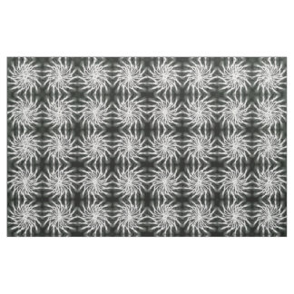 Gray spinning stars energetic pattern black fabric