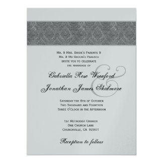 Gray Textured Damask and Silver Metallic 17 Cm X 22 Cm Invitation Card