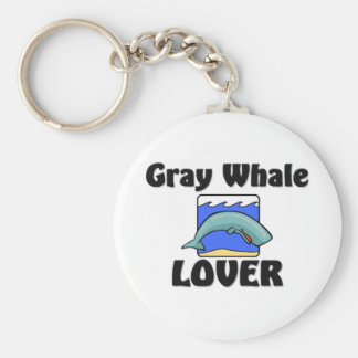 Gray Whale Lover Basic Round Button Key Ring