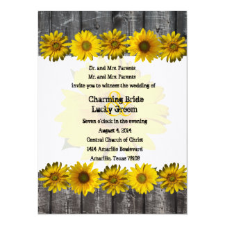 Gray Wood Yellow Sunflower Photo Wedding Invite