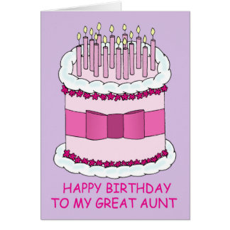 Great Aunt Birthday, giant cake. Greeting Card